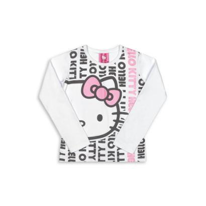 Blusa Bebê Manga Longa Cotton Hello Kitty Feminina-Feminino