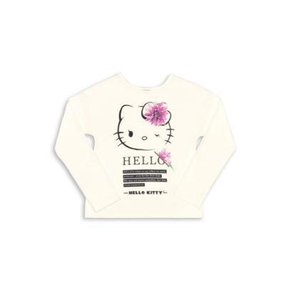 Blusa Bebê Manga Longa Viscose Hello Kitty Feminina-Feminino