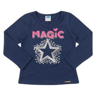 Blusa Bebê Marlan Manga Longa Magic Lantejoulas Feminina