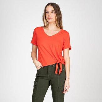 Blusa Bloom Decote V com Amarração Lateral Feminina
