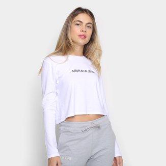 Blusa Calvin Klein Cropped Logo Manga Longa Feminina