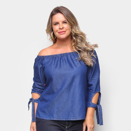 Blusa Cambos Bata Plus Size Ombro A Ombro Com Amarração No Braço Feminina