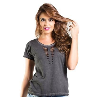 Blusa Camiseta Lado Basic Efeito Rasgadofeminina-Feminino