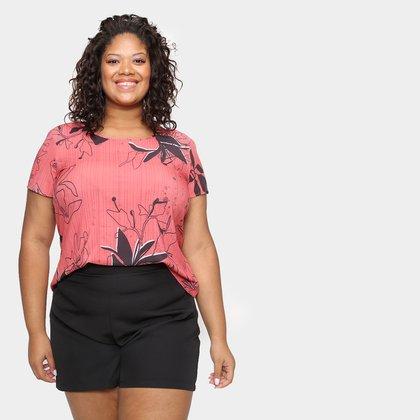 Blusa Cativa Plus Size Básica Floral Feminina