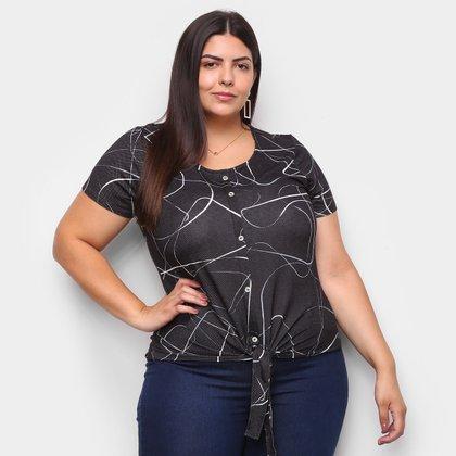 Blusa Cativa Plus Size Estampa Geométrica Amarração Feminina