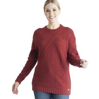 Blusa Cavallini Degote Redondo Remalhado Fully Aram Trança Diagonal Corpo