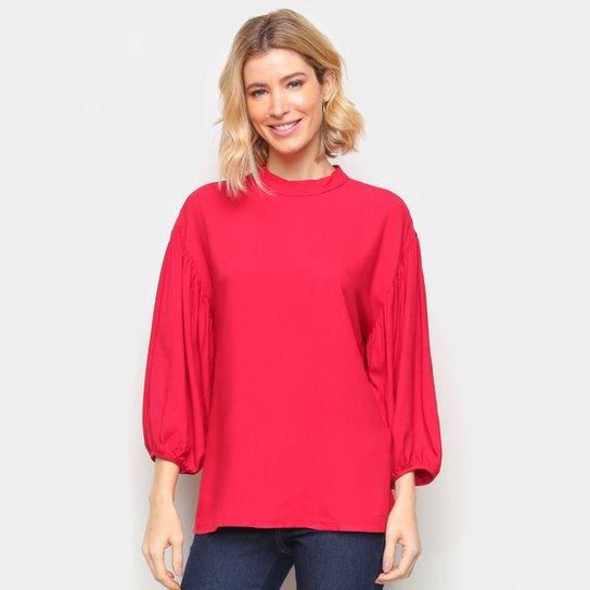 Blusa Colcci Manga Longa Ampla Feminina - Vermelho
