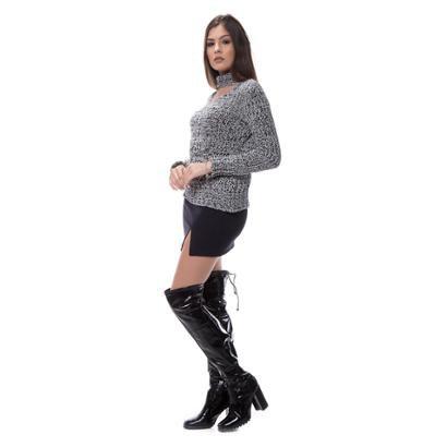 Blusa Corporio Tricot Mescla Gola Recorte-Feminino