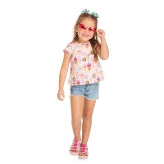 Blusa Cropped Infantil Quebra cabeça Verão Doces Feminina
