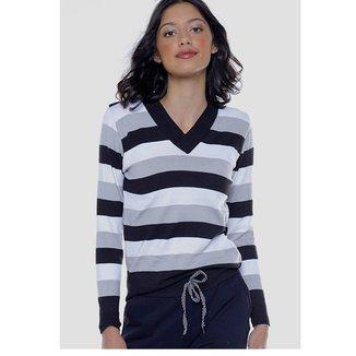 Blusa de Tricot Under79 Justa Gola V Feminina
