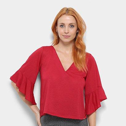 Blusa Dimy Ampla Decote V Feminina -Feminino