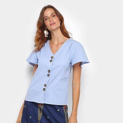 Blusa Dom Fashion Botões Feminina