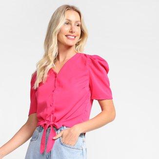 Blusa Dom Fashion Com Botões E Amarração Feminina