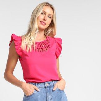 Blusa Dom Fashion Core Babado Feminina
