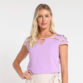 Blusa Dom Fashion Core Recorte Frontal Feminina