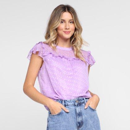 Blusa Dom Fashion Costas Recorte e Transparente Feminina