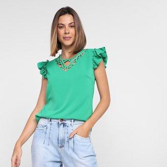 Blusa Dom Fashion Decote Recorte Manga Babado Feminina