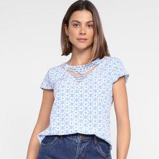 Blusa Dom Fashion Decote Recorte Tule Estampada Feminina