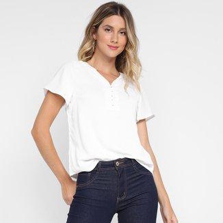 Blusa Dom Fashion Detalhe Botão Forrado Feminina