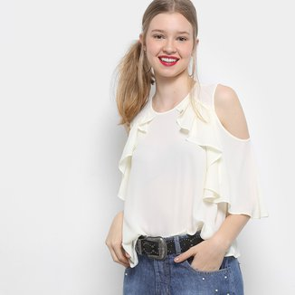 Blusa Drezzup Open Shoulder Babados Feminina