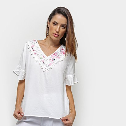 Blusa Efa Renda Feminina-Feminino