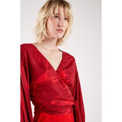 Blusa Est Floral Croqui Red Sacada Feminina