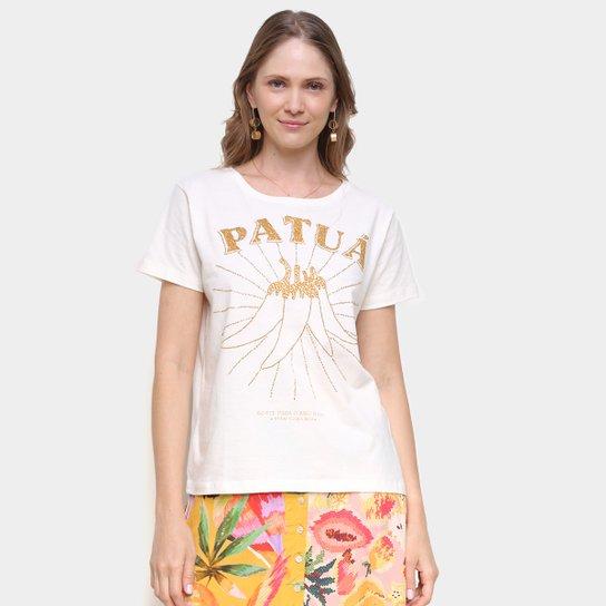 Blusa Farm T-Shirt Fit Patuá Feminina - Off White