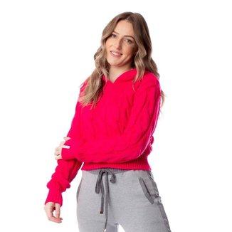 Blusa Feminina Biamar com Tranças e Capuz Pink