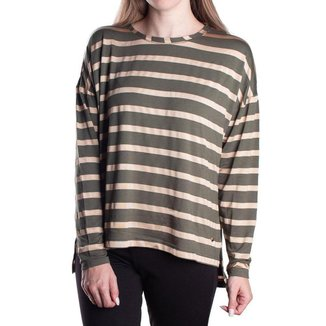 Blusa Feminina Biamar Listrada Malharia Verde/Bege