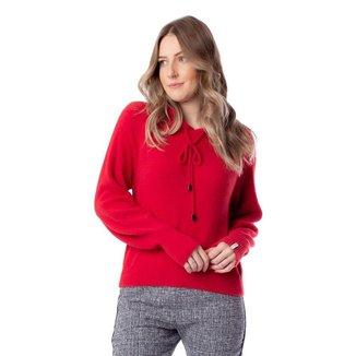 Blusa Feminina Biamar Malharia com Capuz Vermelho