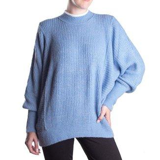 Blusa Feminina Biamar Oversized Malharia Azul Claro