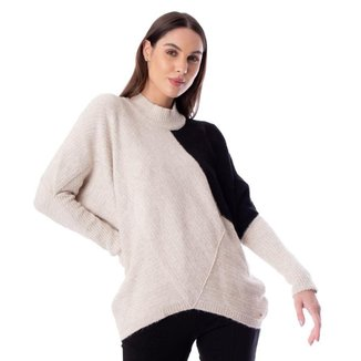 Blusa Feminina Biamar Oversized Malharia Bege/Preto