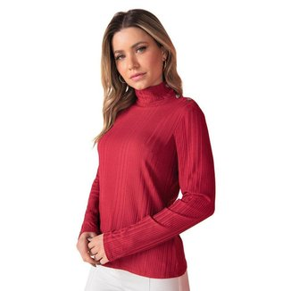 Blusa Feminina Canelada Rovitex Gola Alta Vermelho