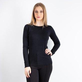 Blusa feminina de malha gola redonda trabalhada 80827