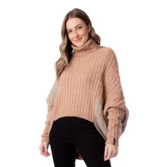 Blusa Feminina de Tricô Biamar Oversized Bege/Rosé