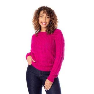 Blusa Feminina em Tricô Ana Gonçalves Trançado Pink