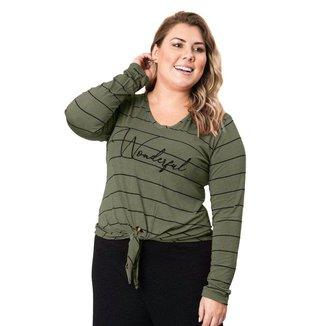 Blusa Feminina Plus Size Formitz com Amarração Verde