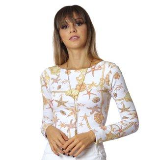 Blusa Ficalinda Manga Longa Com Proteção Solar UV Estampa Estrela do Mar Feminina