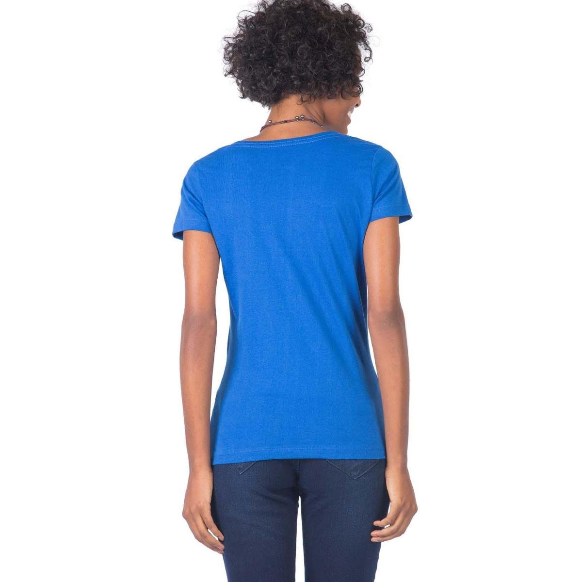 Blusa Gola v Básica Feminina - Azul