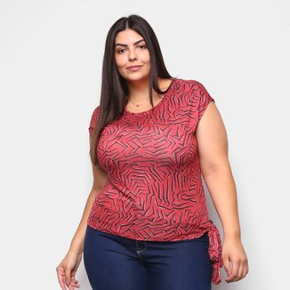 Blusa Habana Plus Size Estampada Laço Feminina