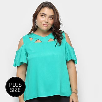 Blusa Heli Open Shoulder Ciganinha Plus Size Feminina