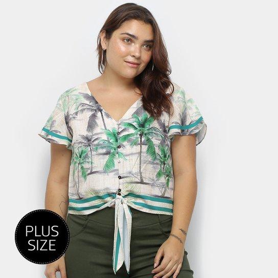 Blusa Heli Tropical Plus Size Amarração Manga Curta Feminina - Bege