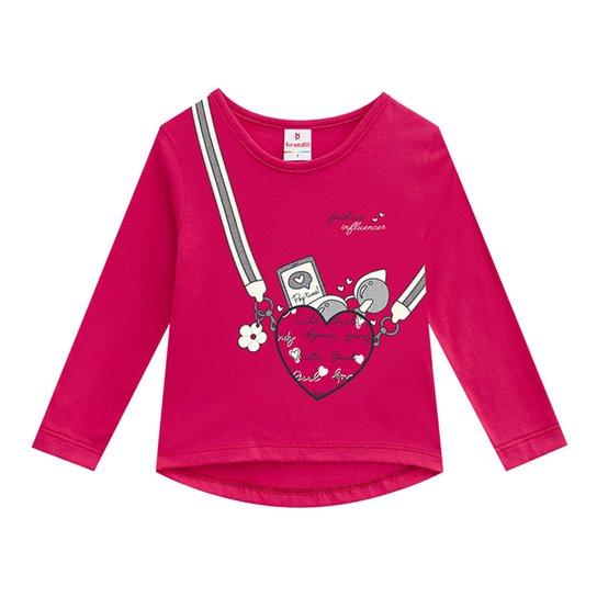 Blusa Infantil Brandili Coração Manga Longa Feminina - Pink