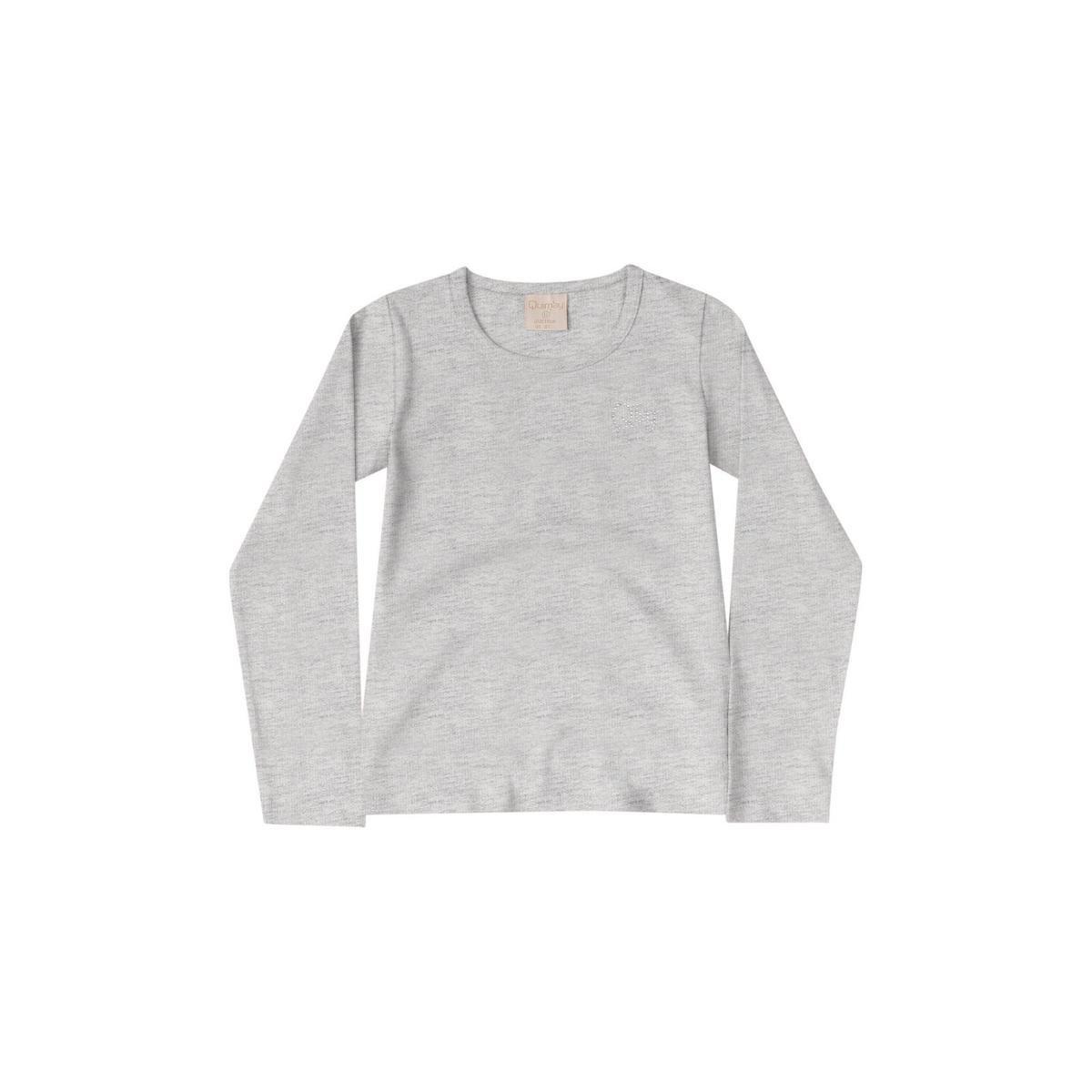 Blusa Infantil Cotton Quimby Feminina - Cinza Claro - Compre Agora ... 91f8438dca3