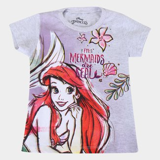 Blusa Infantil Disney Pricess Ariel Feminina