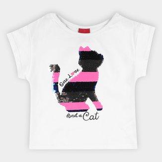 Blusa Infantil Kyly Cat Lantejoula Feminina