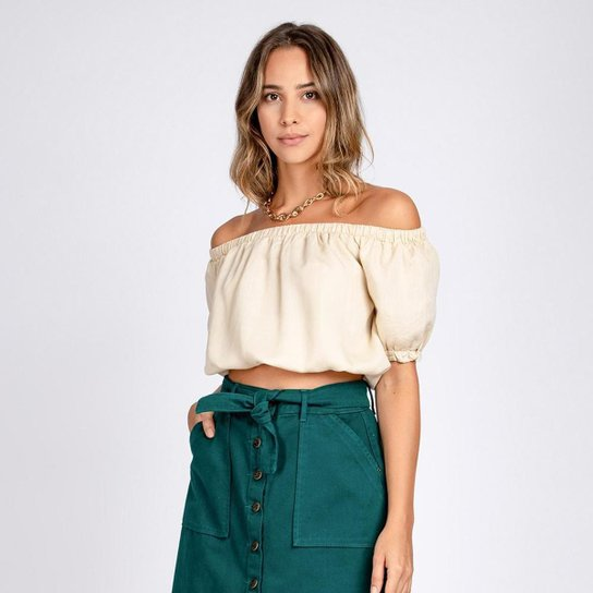 Blusa Jeans Cropped Ciganinha Cor Off White - Off White