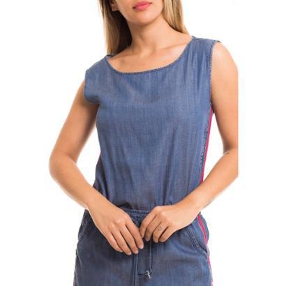 Blusa Jeans Denuncia Sem Manga-Feminino