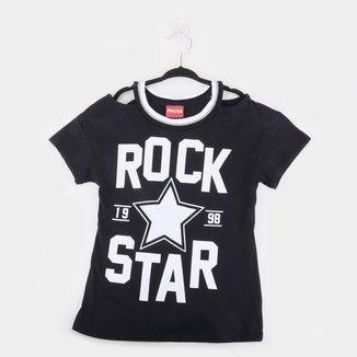 Blusa Juvenil Amora Meia Malha Rock Star Feminina