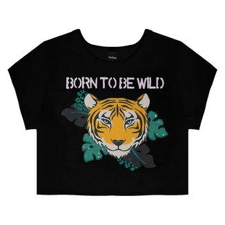 Blusa Juvenil Rovitex Cropped Tigre Wild Feminina